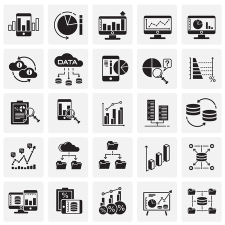 Data analysys icons set on squares background for graphic and web design, Modern simple vector sign. Internet concept. Trendy symbol for website design web button or mobile app Stock Illustratie