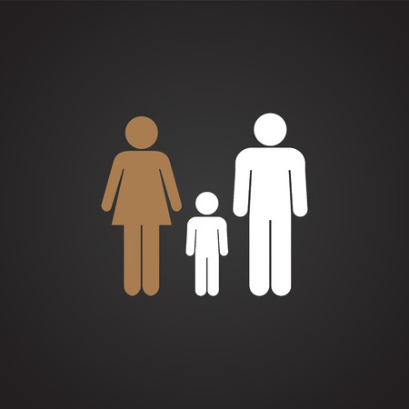 Interracial relationship family on black background icon