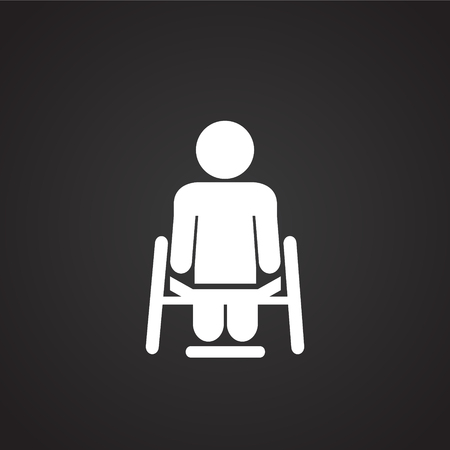 Disabled person on black background icon for app or web using