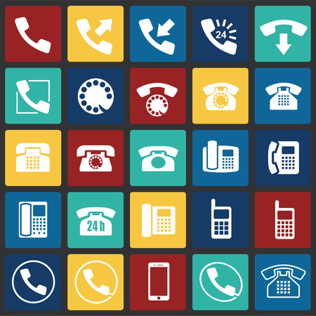 Phone icons set on color squares background for graphic and web design, Modern simple vector sign. Internet concept. Trendy symbol for website design web button or mobile app
