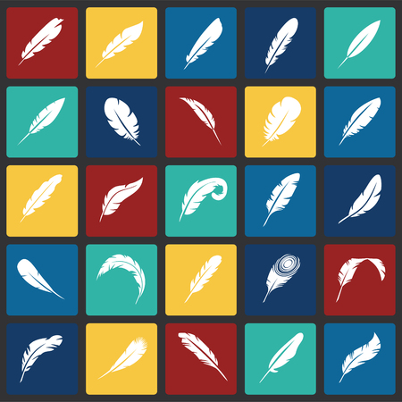 Feather icons set on color squares background for graphic and web design, Modern simple vector sign. Internet concept. Trendy symbol for website design web button or mobile app Çizim