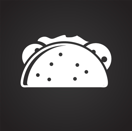 Taco icon on black background for graphic and web design, Modern simple vector sign. Internet concept. Trendy symbol for website design web button or mobile app Illustration