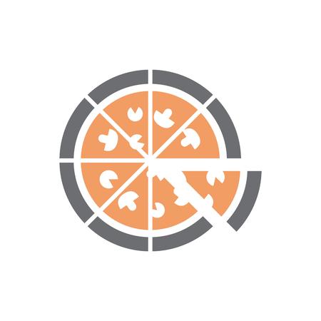 Icône de pizza sur fond blanc pour la conception graphique et web, simple signe vecteur moderne. Notion Internet. Symbole à la mode pour le bouton web de conception de site Web ou l'application mobile Vecteurs