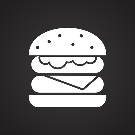 Burger icon on blackbackground for graphic and web design, Modern simple vector sign. Internet concept. Trendy symbol for website design web button or mobile app