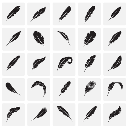 Feather icons set on squares background for graphic and web design, Modern simple vector sign. Internet concept. Trendy symbol for website design web button or mobile app