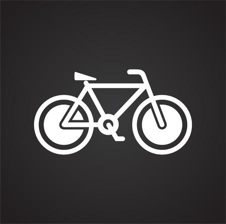 Ikona roweru na czarnym tle do projektowania grafiki i stron internetowych, nowoczesny prosty wektor znak. Koncepcja Internetu. Modny symbol przycisku internetowego do projektowania stron internetowych lub aplikacji mobilnej