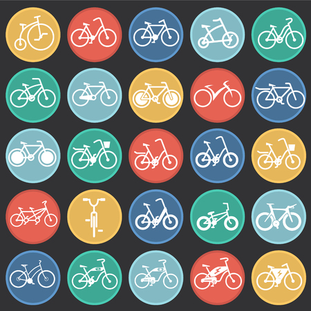 Bicycle icons set on color circles black background for graphic and web design, Modern simple vector sign. Internet concept. Trendy symbol for website design web button or mobile app Ilustração