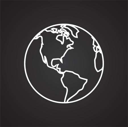 Icône de globe sur fond noir pour la conception graphique et web, simple signe vecteur moderne. Notion Internet. Symbole à la mode pour le bouton Web de conception de site Web ou l'application mobile