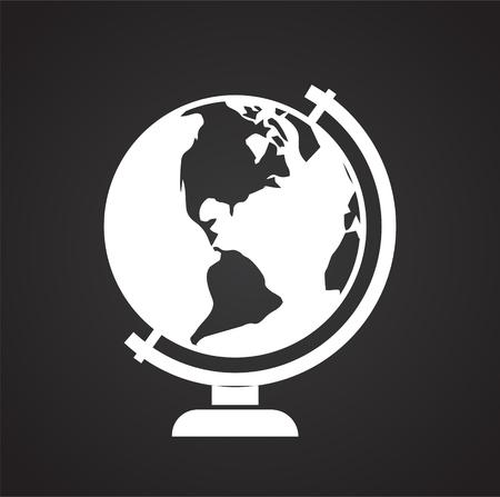 Icona del globo su sfondo nero per grafica e web design, moderno vettore semplice segno. Concetto di Internet. Simbolo alla moda per il pulsante web di progettazione di siti Web o l'app mobile Vettoriali