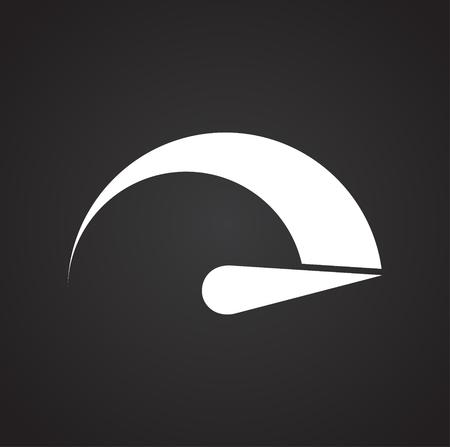 Analog gauge meter on black background for graphic and web design, Modern simple vector sign. Internet concept. Trendy symbol for website design web button or mobile app Illustration