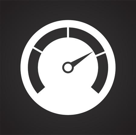 Analog gauge meter on black background for graphic and web design, Modern simple vector sign. Internet concept. Trendy symbol for website design web button or mobile app Stock Photo