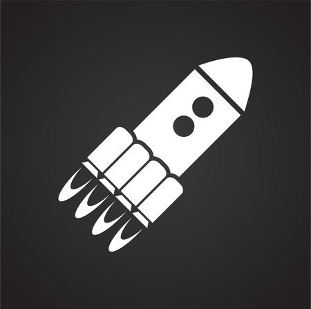 Rocket icon on black background for graphic and web design, Modern simple vector sign. Internet concept. Trendy symbol for website design web button or mobile app