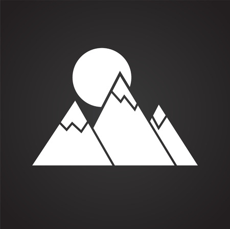 Mountains icon on black background for graphic and web design, Modern simple vector sign. Internet concept. Trendy symbol for website design web button or mobile app Illustration