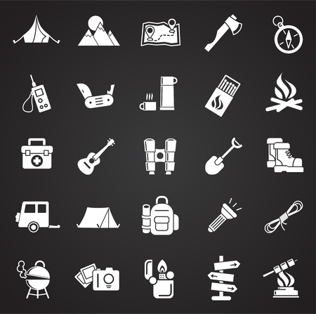 Camping icons set on black background for graphic and web design, Modern simple vector sign. Internet concept. Trendy symbol for website design web button or mobile app