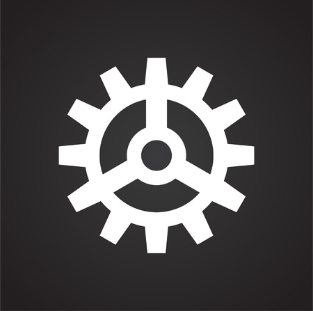 Gear icon on black background for graphic and web design, Modern simple vector sign. Internet concept. Trendy symbol for website design web button or mobile app
