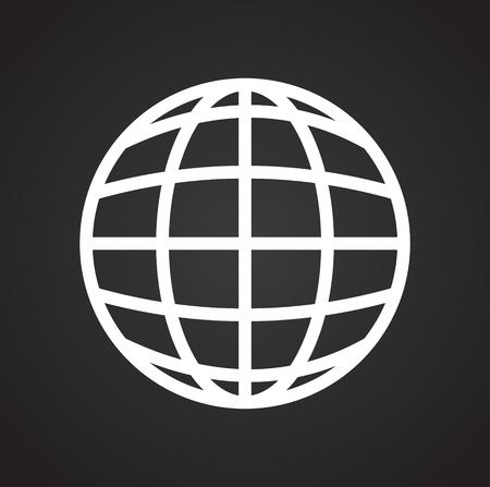Globe icon on black background for graphic and web design, Modern simple vector sign. Internet concept. Trendy symbol for website design web button or mobile app Standard-Bild - 116648159