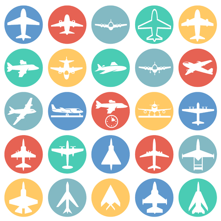 Airplane icons on color circles white background for graphic and web design, Modern simple vector sign. Internet concept. Trendy symbol for website design web button or mobile app