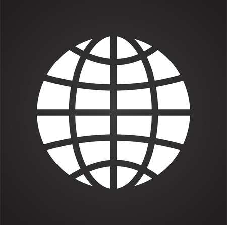 Globe icon on black background for graphic and web design, Modern simple vector sign. Internet concept. Trendy symbol for website design web button or mobile app