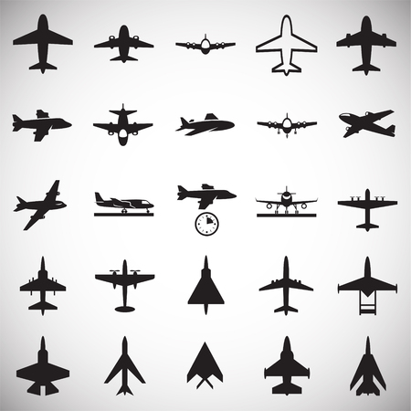 Airplane icons on white background for graphic and web design, Modern simple vector sign. Internet concept. Trendy symbol for website design web button or mobile app Banque d'images - 125667706