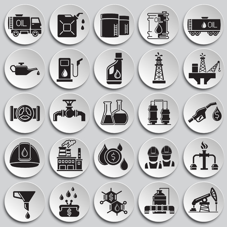 Oil industry icon set on plates background for graphic and web design, Modern simple vector sign. Internet concept. Trendy symbol for website design web button or mobile app