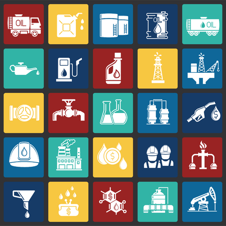 Oil industry icon set on color squares background for graphic and web design, Modern simple vector sign. Internet concept. Trendy symbol for website design web button or mobile app Çizim