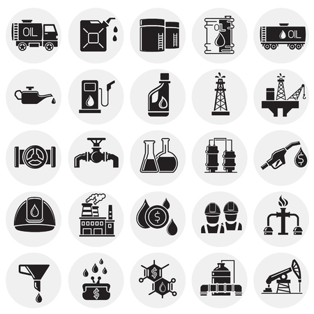 Oil industry icon set on circles background for graphic and web design, Modern simple vector sign. Internet concept. Trendy symbol for website design web button or mobile app
