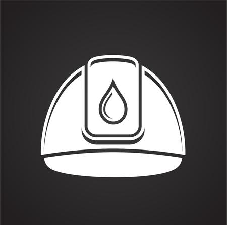 Helmet of oil industry icon on black background for graphic and web design, Modern simple vector sign. Internet concept. Trendy symbol for website design web button or mobile app Illustration