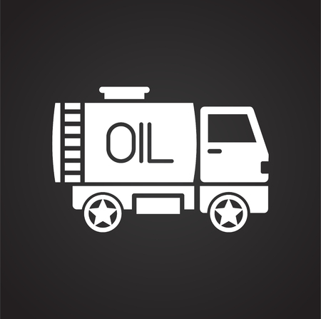 Oil delivery icon on black background for graphic and web design, Modern simple vector sign. Internet concept. Trendy symbol for website design web button or mobile app