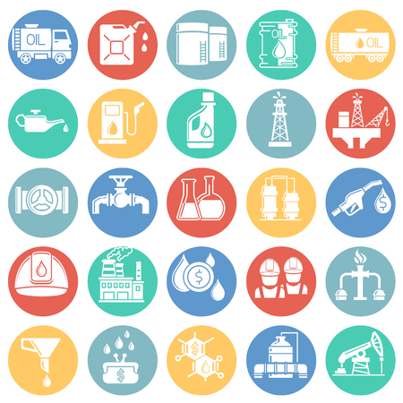 Oil industry icon set on color circles white background for graphic and web design, Modern simple vector sign. Internet concept. Trendy symbol for website design web button or mobile app Çizim