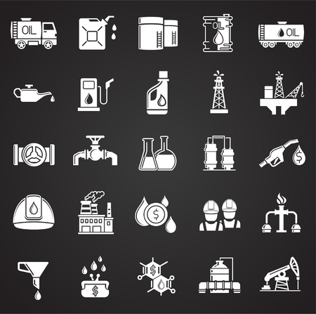 Oil industry icon set on black background for graphic and web design, Modern simple vector sign. Internet concept. Trendy symbol for website design web button or mobile app Çizim