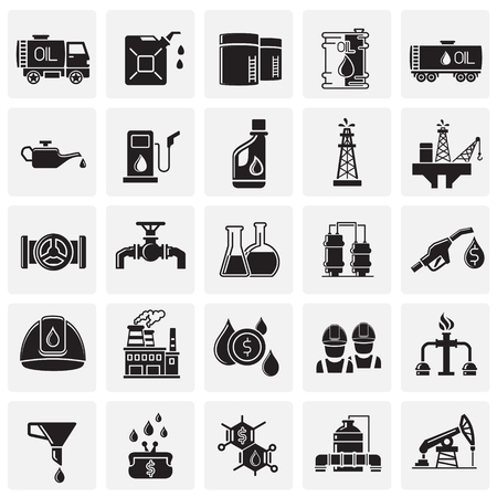 Oil industry icon set on squares background for graphic and web design, Modern simple vector sign. Internet concept. Trendy symbol for website design web button or mobile app