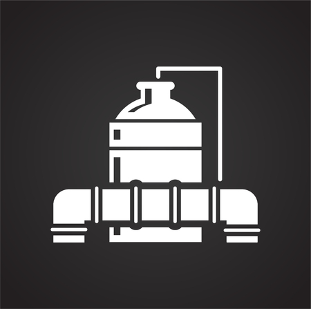 Oil refining industry icon on black background for graphic and web design, Modern simple vector sign. Internet concept. Trendy symbol for website design web button or mobile app