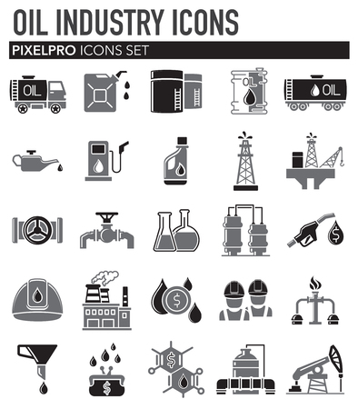 Oil industry icon set on white background for graphic and web design, Modern simple vector sign. Internet concept. Trendy symbol for website design web button or mobile app Çizim