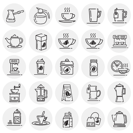 Tea and coffee outline icons set on circles background for graphic and web design, Modern simple vector sign. Internet concept. Trendy symbol for website design web button or mobile app