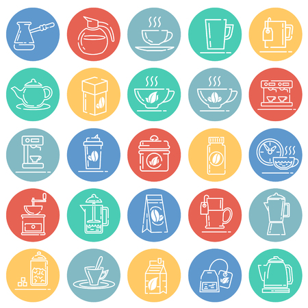 Tea and coffee outline icons set on color circles white background for graphic and web design, Modern simple vector sign. Internet concept. Trendy symbol for website design web button or mobile app Illusztráció
