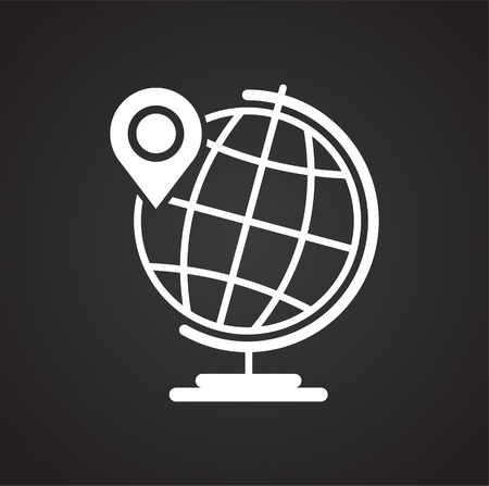 Navigation global positioning system icon on black background for graphic and web design, Modern simple vector sign. Internet concept. Trendy symbol for website design web button or mobile app Vectores