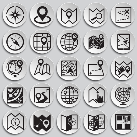 Map and navigation icons set on plates background for graphic and web design, Modern simple vector sign. Internet concept. Trendy symbol for website design web button or mobile app Vectores