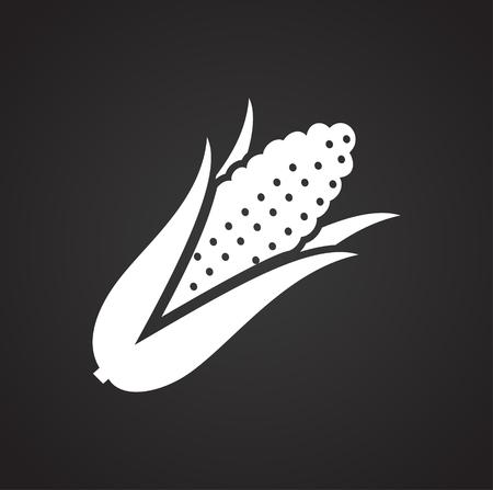 Icône de maïs sur fond noir pour la conception graphique et web, simple signe vecteur moderne. Notion Internet. Symbole à la mode pour le bouton web de conception de site Web ou l'application mobile Vecteurs