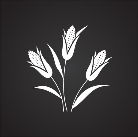 Corn icon on black background for graphic and web design, Modern simple vector sign. Internet concept. Trendy symbol for website design web button or mobile app Stok Fotoğraf