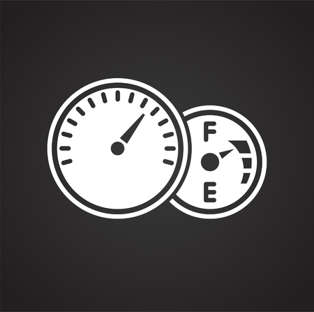 Car dashboard icon on black background for graphic and web design, Modern simple vector sign. Internet concept. Trendy symbol for website design web button or mobile app