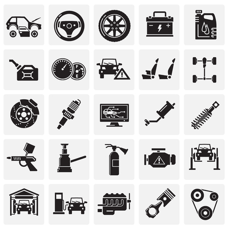 Car service icons set on squares background for graphic and web design, Modern simple vector sign. Internet concept. Trendy symbol for website design web button or mobile app