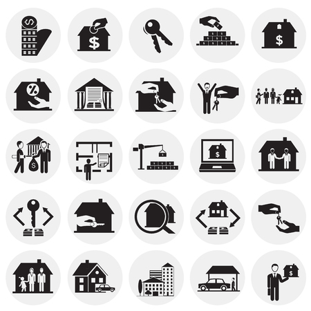 Real estate and mortgage set on circles background icons