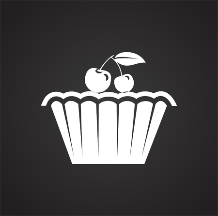 Cake icon on black background for graphic and web design, Modern simple vector sign. Internet concept. Trendy symbol for website design web button or mobile app