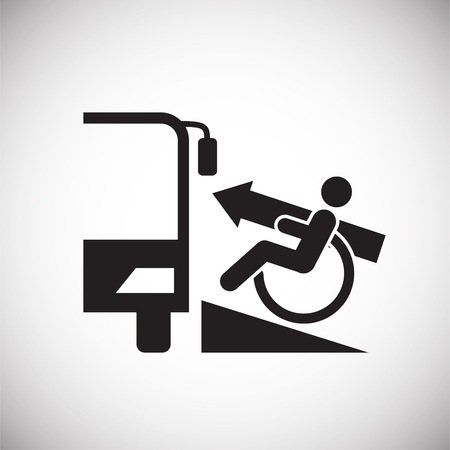 Wheelchair lift icon on white background for graphic and web design, Modern simple vector sign. Internet concept. Trendy symbol for website design web button or mobile app Vectores