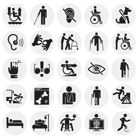Disabilità set di icone su cerchi sfondo per grafica e web design, moderno vettore semplice segno. Concetto di Internet. Simbolo alla moda per il pulsante web di progettazione di siti Web o l'app mobile