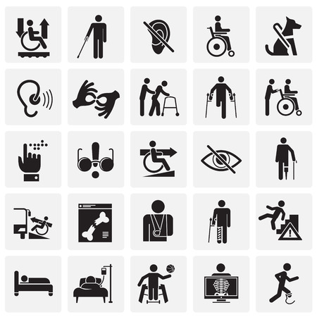 Disability icons set on squares background for graphic and web design, Modern simple vector sign. Internet concept. Trendy symbol for website design web button or mobile app