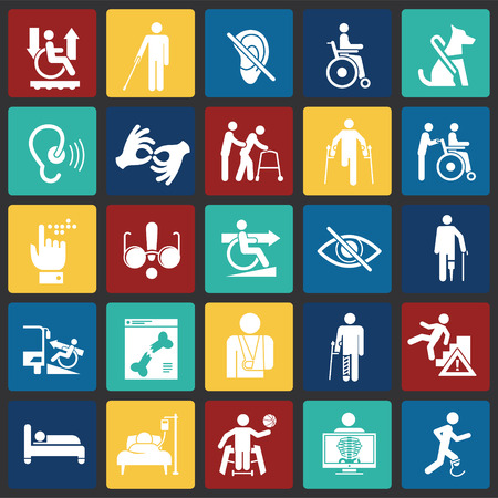 Disability icons set on color squares background for graphic and web design, Modern simple vector sign. Internet concept. Trendy symbol for website design web button or mobile app