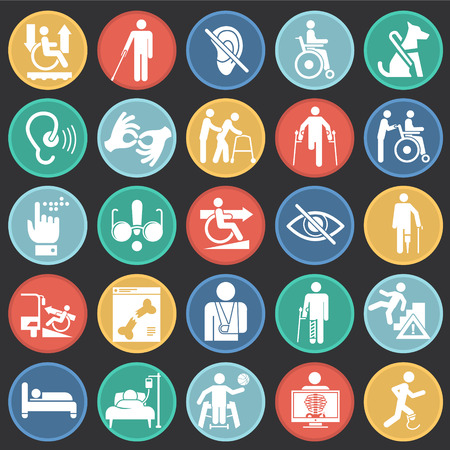 Disability icons set on color circles black background for graphic and web design, Modern simple vector sign. Internet concept. Trendy symbol for website design web button or mobile app