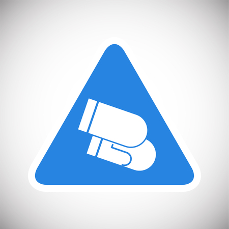 Welding gloves sign on blue background icon
