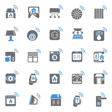 Smart home blue grey set on black background for graphic and web design, Modern simple vector sign. Internet concept. Trendy symbol for website design web button or mobile app